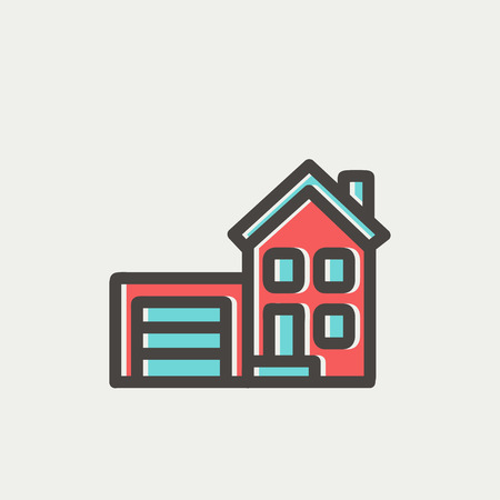 Home and garage icon thin line for web and mobile, modern minimalistic flat design. Vector icon with dark grey outline and offset colour on light grey background.