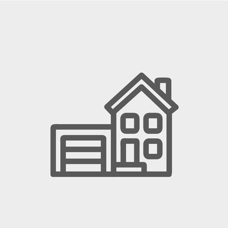 Home and garage icon thin line for web and mobile, modern minimalistic flat design. Vector dark grey icon on light grey background. Vector