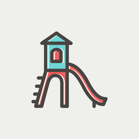 Playhouse with slide icon thin line for web and mobile, modern minimalistic flat design. Vector icon with dark grey outline and offset colour on light grey background.