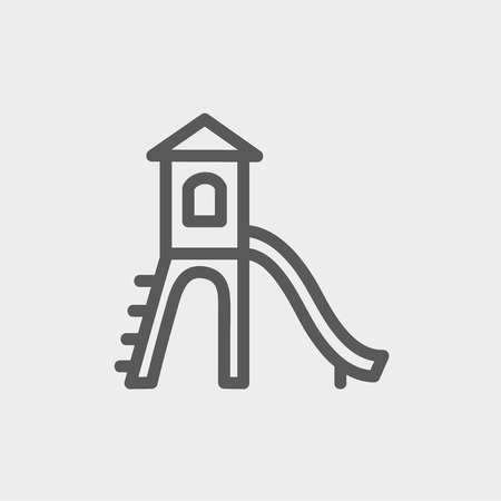 Playhouse with slide icon thin line for web and mobile, modern minimalistic flat design. Vector dark grey icon on light grey background. Ilustracja