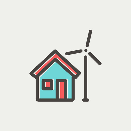 carbon neutral: House and windmill icon thin line for web and mobile, modern minimalistic flat design. Vector icon with dark grey outline and offset colour on light grey background.