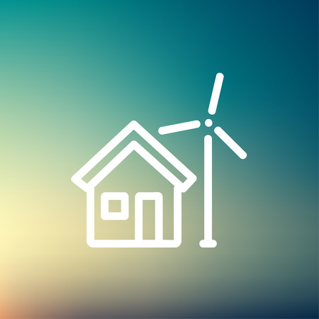 solarpower: House and windmill icon thin line for web and mobile, modern minimalistic flat design. Vector white icon on gradient mesh background.