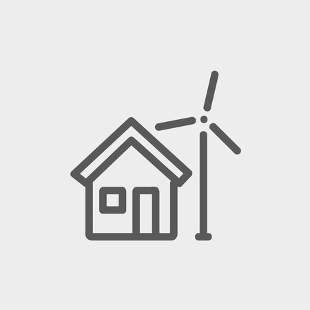 solarpower: House and windmill icon thin line for web and mobile, modern minimalistic flat design. Vector dark grey icon on light grey background. Illustration