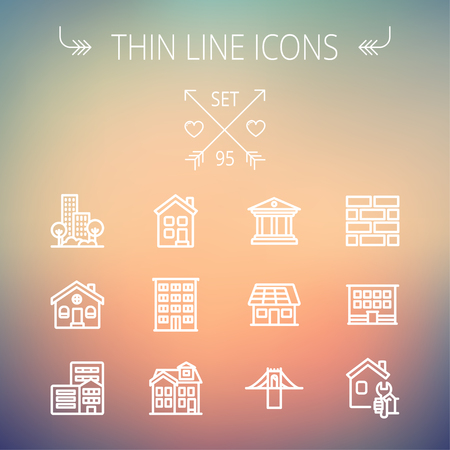Construction thin line icon set for web and mobile. Set includes -museum, house with solar panel, bridge, building, bricks, hotel. Modern minimalistic flat design. Vector white icon on gradient  mesh background.