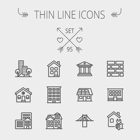 Bouw dunne lijn icon set voor web en mobiel. De set bevat - museum, huis met zonnepaneel, brug, gebouw, bakstenen, hotel. Moderne minimalistische platte design. Vector donkergrijs pictogram op lichtgrijze achtergrond