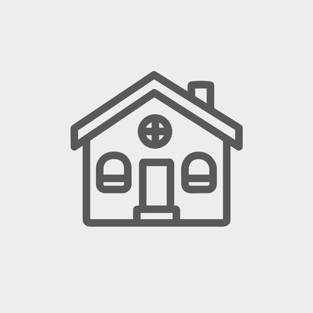 cult: Church building icon thin line for web and mobile, modern minimalistic flat design. Vector dark grey icon on light grey background. Illustration