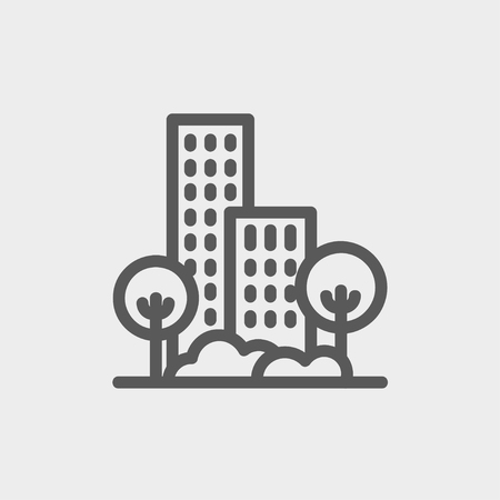establishments: Building and trees icon thin line for web and mobile, modern minimalistic flat design. Vector dark grey icon on light grey background.
