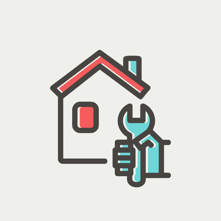 modern house: House repair icon thin line for web and mobile, modern minimalistic flat design. Vector icon with dark grey outline and offset colour on light grey background. Illustration