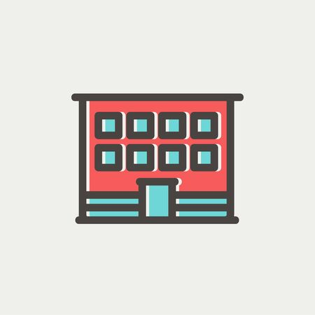 office building icon: Modern office building icon thin line for web and mobile, modern minimalistic flat design. Vector icon with dark grey outline and offset colour on light grey background. Illustration