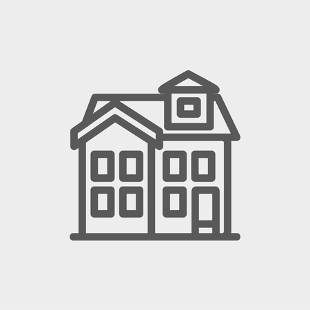 House with chimney icon thin line for web and mobile, modern minimalistic flat design. Vector dark grey icon on light grey background. Vector