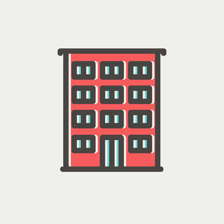 headquarters: Hotel icon thin line for web and mobile, modern minimalistic flat design. Vector icon with dark grey outline and offset colour on light grey background. Illustration