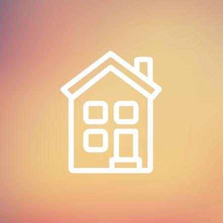 icone maison: Accueil icon fine ligne pour le web et mobile, design plat moderne et minimaliste. Vecteur ic�ne sur gradient maille fond. Illustration