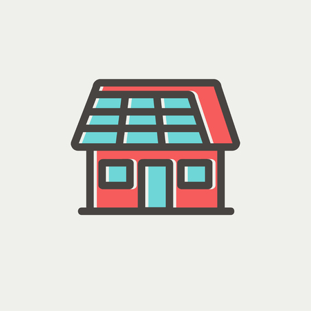lien: House with solar panel icon thin line for web and mobile, modern minimalistic flat design. Vector icon with dark grey outline and offset colour on light grey background.
