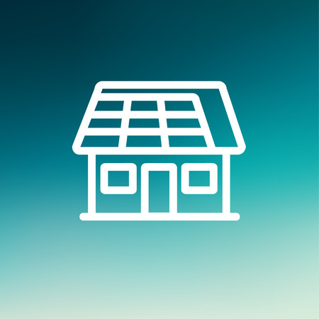 House with solar panel icon thin line for web and mobile, modern minimalistic flat design. Vector white icon on gradient mesh background.