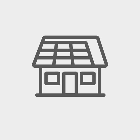 lien: House with solar panel icon thin line for web and mobile, modern minimalistic flat design. Vector dark grey icon on light grey background. Illustration