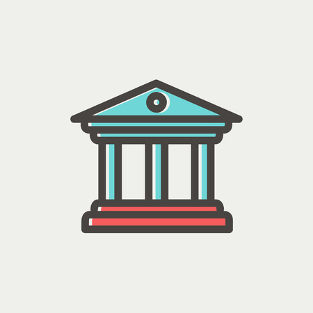 Museum building icon thin line for web and mobile, modern minimalistic flat design. Vector icon with dark grey outline and offset colour on light grey background. Ilustração