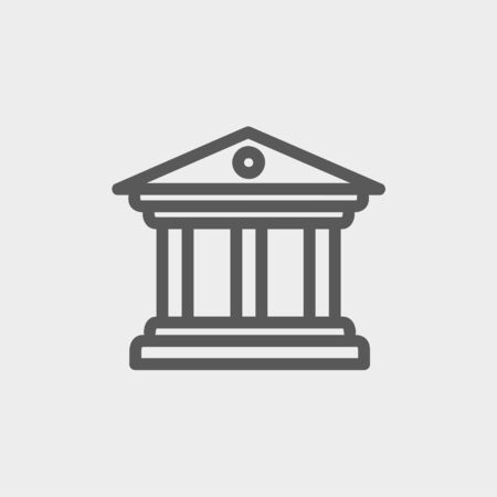 civic: Museum building icon thin line for web and mobile, modern minimalistic flat design. Vector dark grey icon on light grey background. Illustration