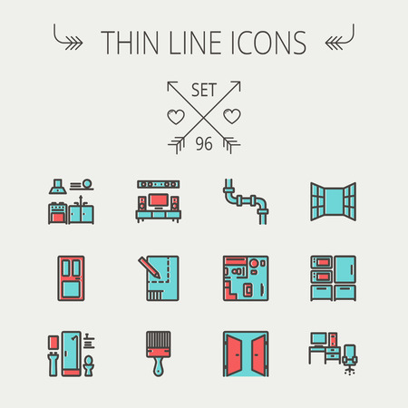 Construction thin line icon set for web and mobile. Set includes - pipeline, structure, door, window, appliances, furnitures, interiors, paintbrush. Modern minimalistic flat design. Vector icon with dark grey outline and offset colour on light grey backgr Stock Illustratie