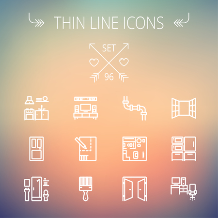 Construction thin line icon set for web and mobile. Set includes -pipeline, structure, door, window, appliances, furnitures, interiors, paintbrush. Modern minimalistic flat design. Vector white icon on gradient  mesh background. Vector