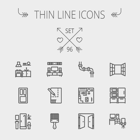 Construction thin line icon set for web and mobile. Set includes- pipeline, structure, door, window, appliances, furnitures, interiors, paintbrush. Modern minimalistic flat design. Vector dark grey icon on light grey background Vector