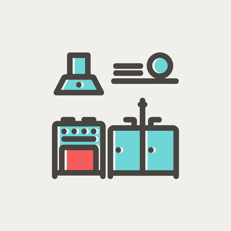 modern interior: Kitchen interior icon thin line for web and mobile, modern minimalistic flat design. Vector icon with dark grey outline and offset colour on light grey background. Illustration