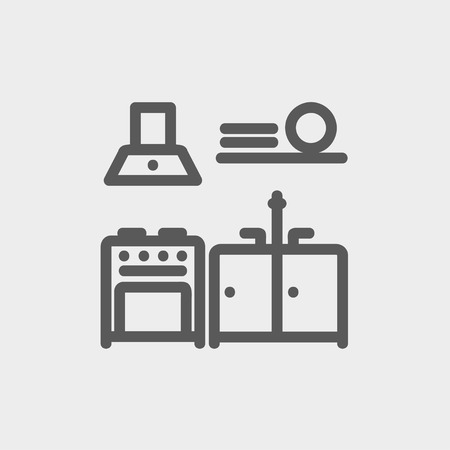 stainless steel kitchen: Kitchen interior icon thin line for web and mobile, modern minimalistic flat design. Vector dark grey icon on light grey background.