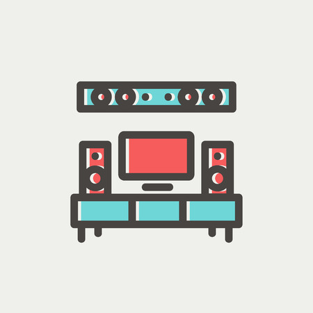home theater: TV flat screen and home theater icon thin line for web and mobile, modern minimalistic flat design. Vector icon with dark grey outline and offset colour on light grey background. Illustration