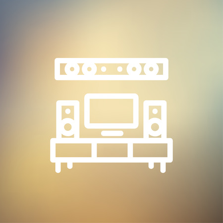flat screen tv: TV flat screen and home theater icon thin line for web and mobile, modern minimalistic flat design. Vector white icon on gradient mesh background.
