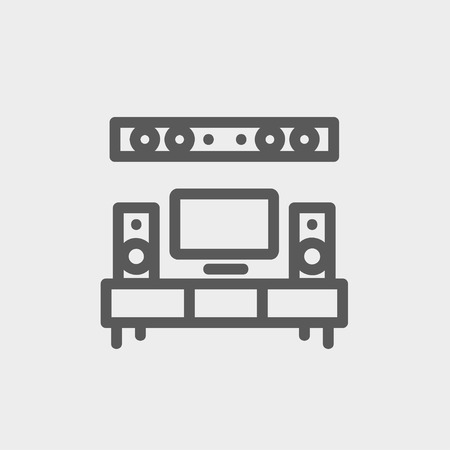TV flat screen and home theater icon thin line for web and mobile, modern minimalistic flat design. Vector dark grey icon on light grey background. Vector