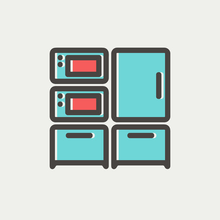 stove top: Home kitchen oven and microwave icon thin line for web and mobile, modern minimalistic flat design. Vector icon with dark grey outline and offset colour on light grey background. Illustration