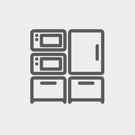 stove top: Home kitchen oven and microwave icon thin line for web and mobile, modern minimalistic flat design. Vector dark grey icon on light grey background. Illustration