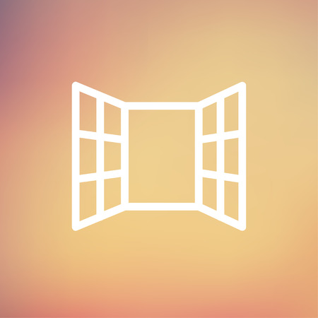 softwood: Open windows icon thin line for web and mobile, modern minimalistic flat design. Vector white icon on gradient mesh background. Illustration