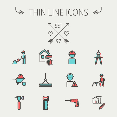 modern house: Construction thin line icon set for web and mobile. Set includes - compass, house sketch, man with hard hat, hammer drill, house paint, crane, hacksaw, hammer. Modern minimalistic flat design. Vector icon with dark grey outline and offset colour on light  Illustration