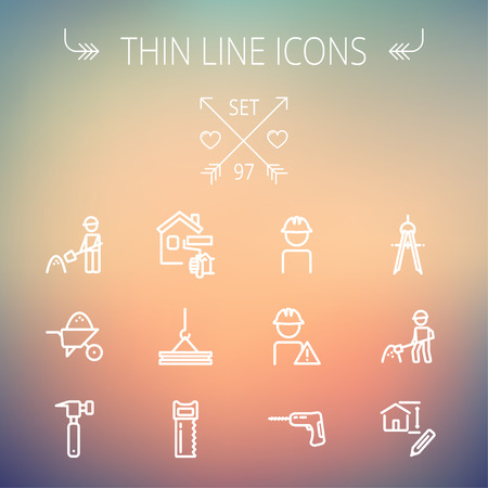 construction: Construction thin line icon set for web and mobile. Set includes - compass, house sketch, man with hard hat, hammer drill, house paint, crane, hacksaw, hammer. Modern minimalistic flat design. Vector white icon on gradient  mesh background. Illustration