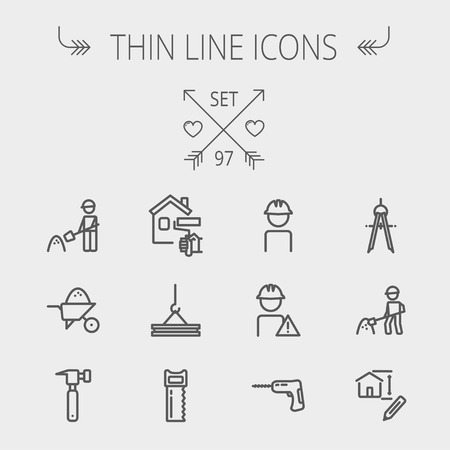 Construction thin line icon set for web and mobile. Set includes- compass, house sketch, man with hard hat, hammer drill, house paint, crane, hacksaw, hammer. Modern minimalistic flat design. Vector dark grey icon on light grey background Vectores