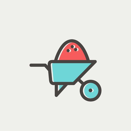 building construction: Wheelbarrow full of sand icon thin line for web and mobile, modern minimalistic flat design. Vector icon with dark grey outline and offset colour on light grey background.