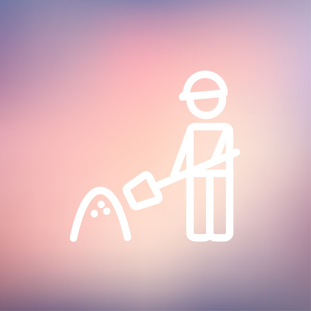 sweaty: Man with shovel and sand icon thin line for web and mobile, modern minimalistic flat design. Vector white icon on gradient mesh background.