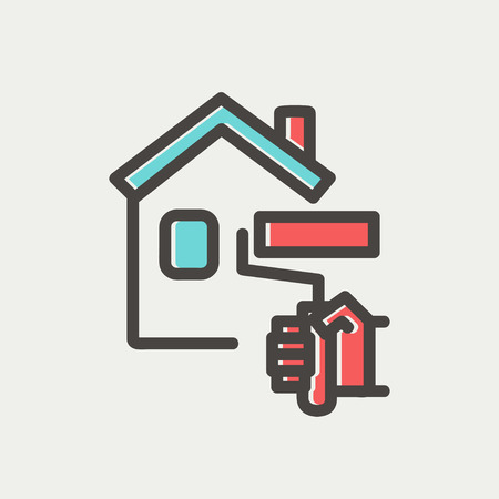house painting: House painting using paint roller icon thin line for web and mobile, modern minimalistic flat design. Vector icon with dark grey outline and offset colour on light grey background.