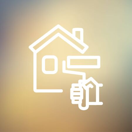 house painting: House painting using paint roller icon thin line for web and mobile, modern minimalistic flat design. Vector white icon on gradient mesh background.