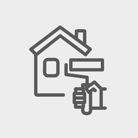 roof house: House painting using paint roller icon thin line for web and mobile, modern minimalistic flat design. Vector dark grey icon on light grey background.