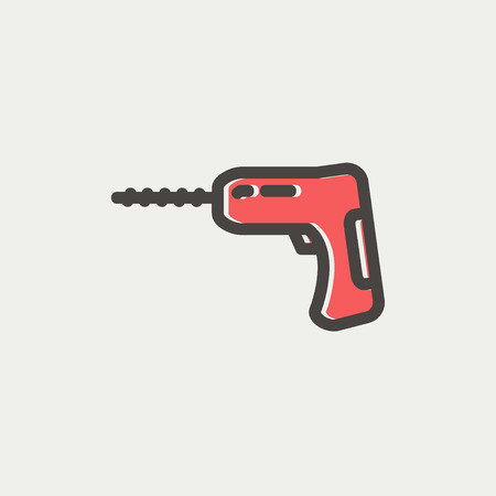hammer drill: Hammer drill icon thin line for web and mobile, modern minimalistic flat design. Vector icon with dark grey outline and offset colour on light grey background.