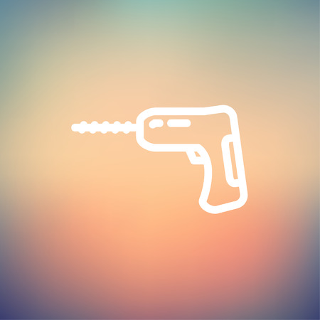 Hammer drill icon thin line for web and mobile, modern minimalistic flat design. Vector white icon on gradient mesh background.