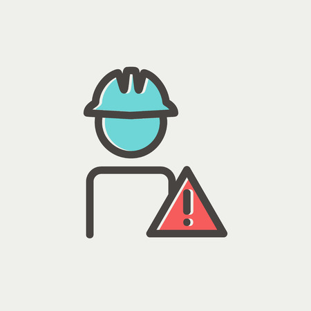 unsafe: Worker in caution sign icon thin line for web and mobile, modern minimalistic flat design. Vector icon with dark grey outline and offset colour on light grey background.