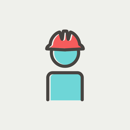 hard hat icon: Worker wearing hard hat icon thin line for web and mobile, modern minimalistic flat design. Vector icon with dark grey outline and offset colour on light grey background.