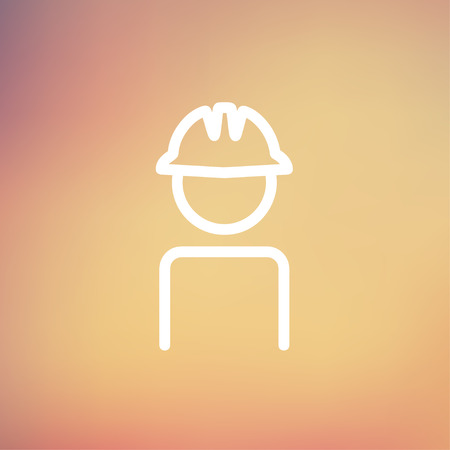 hard: Worker wearing hard hat icon thin line for web and mobile, modern minimalistic flat design. Vector white icon on gradient mesh background. Illustration