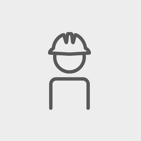 hard hat icon: Worker wearing hard hat icon thin line for web and mobile, modern minimalistic flat design. Vector dark grey icon on light grey background.