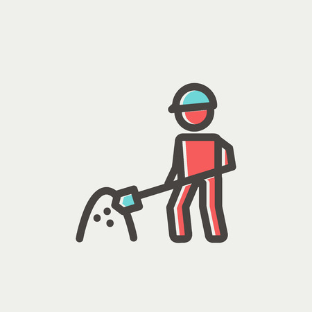 site: Worker with hard hat and shovel in building site icon thin line for web and mobile, modern minimalistic flat design. Vector icon with dark grey outline and offset colour on light grey background.