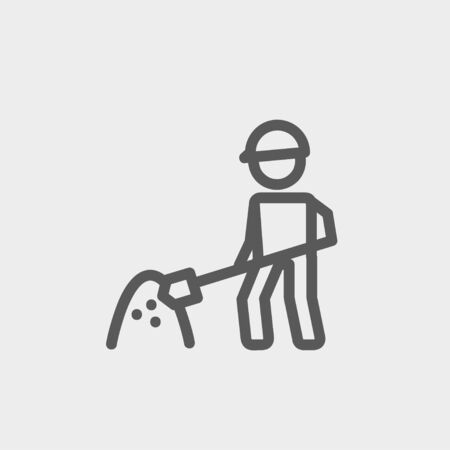 building site: Worker with hard hat and shovel in building site icon thin line for web and mobile, modern minimalistic flat design. Vector dark grey icon on light grey background.