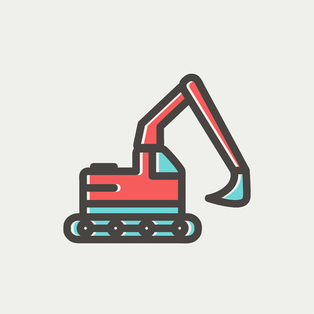Hydraulic excavator truck icon thin line for web and mobile, modern minimalistic flat design. Vector icon with dark grey outline and offset colour on light grey background.