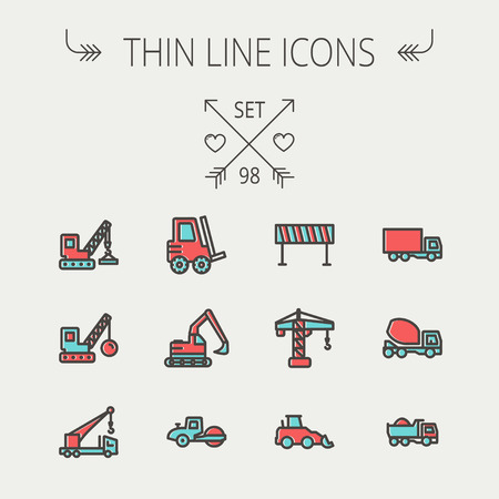 Construction thin line icon set for web and mobile. Set includes - forklift, road roller, cranes, dump truck, road barrier, delivery truck, mixer. Modern minimalistic flat design. Vector icon with dark grey outline and offset colour on light grey backgrou Vector